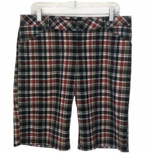 Fleurish Bermuda Shorts plaid Red Blue Juniors 13